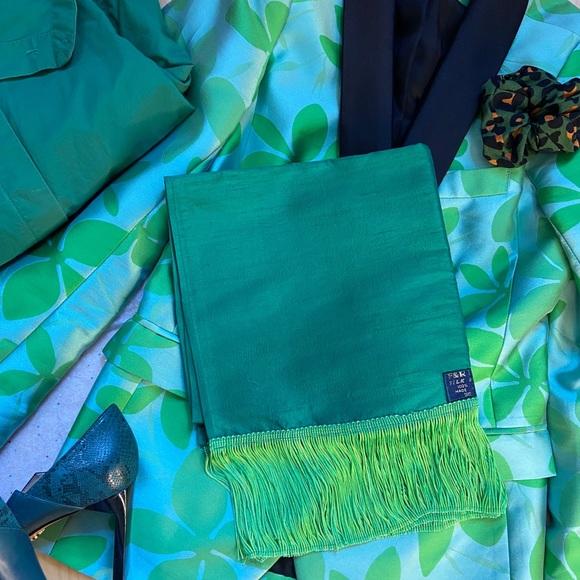 Green silk scarf / wrap with fringe